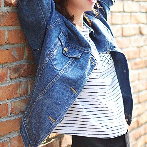 Sharewin weit geschnittene Damen-Jeansjacke im Boyfriend-Stil, langärmlig, blau, robust, ausgewaschen, Taschen und Knöpfe Gr. Large, blau - 4