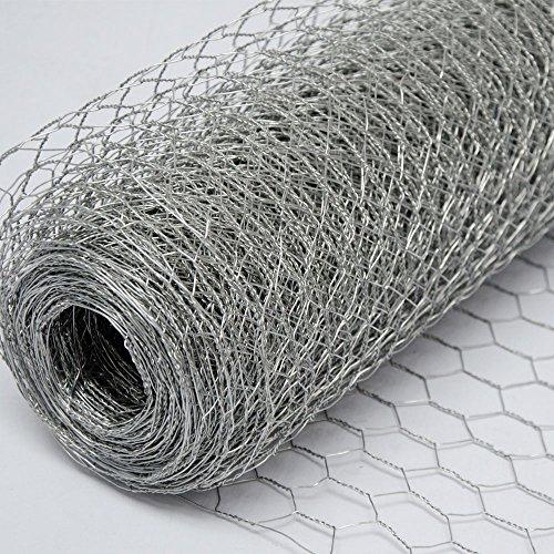 Grillage Métallique pour Cloture   Maillage Hexagonal : 25x25mm   Longueur 25m   Hauteur 100cm   Clôture pour animaux et plantes   Galvanisé 0.6mm