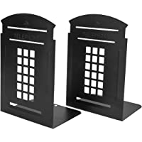 MerryNine Non-Slip Bookends, Heavy Metal Non Skid Sturdy Telephone Booth Decorative Gift for Bookshelf Office School…