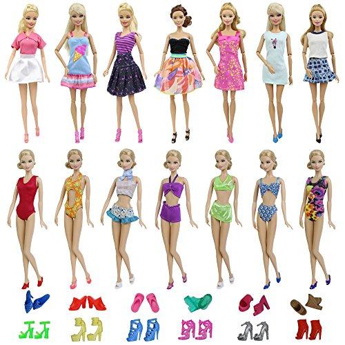 ZITA ELEMENT 15 Stück Puppenzubehör für 11,5 inch Girl Doll Kleidung Bekleidung Sommer Kleider Badeanzug mit Schuhe Bademode Puppenkleidung Kostüm Rock (Stück Bademode Kleid Ein)