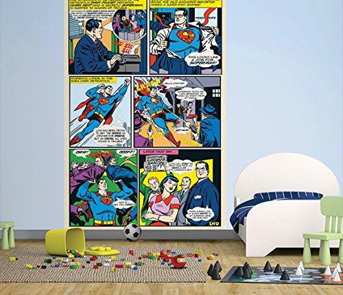1 Wall Papier Peint Facile à Poser Motif DC Comics Superman Panneau 1,58 X 2,32 m