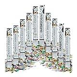 10x Party-Popper 40 cm, 6-8m Effekthöhe, Hochzeitsdeko Konfetti-Shooter, Konfetti-Kanone, Hochzeitsgeschenke, Farbregen