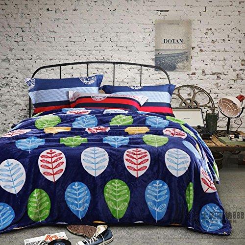 Doppelt dick Decke Dorm Single dicke Coral samt winter Bett decken Decke Flanell Bettwäsche Stück twin, 1,2 m, 2 m, blau Kasuga Blatt Sprache