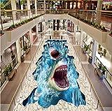 Zybnb Foto 3D Bodenbelag Wand Haie Wasserfall 3D Stereoscopic Floor Stickers Wasserdichte Verdickte Selbstklebende Pvc-Tapete