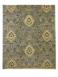 Tapis Noué Main Motif Cachemire, Gri, Laine, 195 X 236 cm
