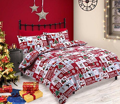 Set di biancheria da letto christmas fun, con copripiumino, con divertente motivo natalizio a patchwork, con immagini di renne, pinguini, pupazzi di neve e babbo natale, colore: rosso e bianco, doppio