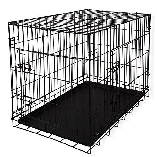 Lovpet® Hundetransportbox Hundebox Transportbox Hundekäfig ✓ Mit Front- und Seitentür ✓ Robustes Metall ✓ Herausnehmbare Bodenwanne | Gitterbox für Zuhause & auf Reisen | Ausreichend Platz | Praktische Tragegriffe, Farbe:Schwarz, Größe:L