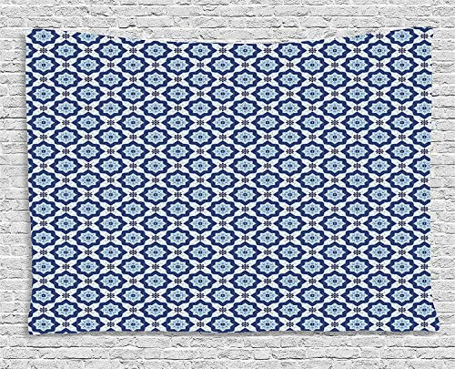 TRUIOKO Moroccan Tapestry, Azulejo Tile Pattern Diagonal Ceramic Pattern Arabesque Star Design Ornnt, Wall Hanging for Bedroom Living Room Dorm Wall Tapestry Decor, 80 W X 60 L inches, Dark Blue W
