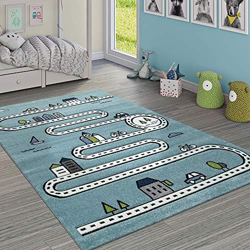 Paco Home Kinderteppich Kinderzimmer Modern Lernteppich Straße Auto Haus Design In Blau, Grösse:160x230 cm -