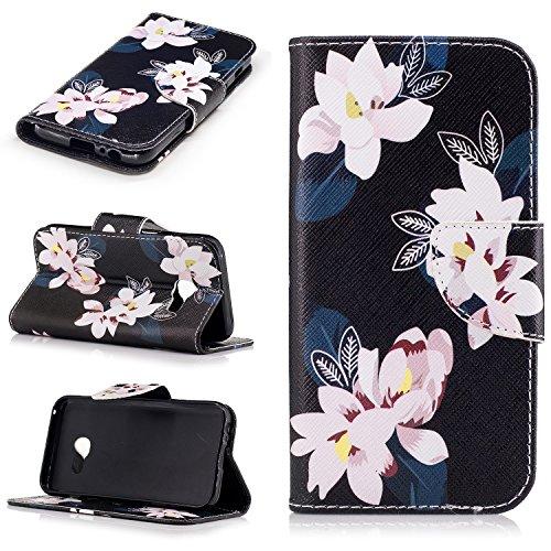 Qiaogle Téléphone Coque - PU Cuir rabat Wallet Housse Case pour Apple iPhone 7 (4.7 Pouce) - BF55 / Three Days in New York City BF59 / Noir lotus de fleur