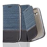 Cadorabo Hülle für Samsung Galaxy S3 Mini - Hülle in DUNKEL BLAU SCHWARZ – Handyhülle mit Standfunktion und Kartenfach im Stoff Design - Case Cover Schutzhülle Etui Tasche Book