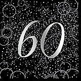 Unique Papierservietten mit Foliendruck für den 60. Geburtstag,silber,16er pack