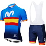 Traje Equipacion Ciclismo Hombre Verano con 5D Acolchado De Gel,Traje Ciclismo Hombre + Pantalon