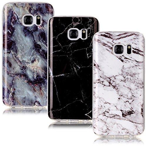 CLM-Tech Galaxy S7 Hülle 3X, TPU Gummi Schutzhülle Tasche Case passgenau Kratzfest Cover Gel Schale Silikonhülle 3er Set, Marmor Muster schwarz weiß bunt Gummi-gel Cover