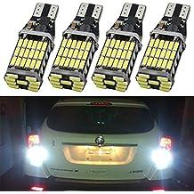 Paquete de 4 - 921 912 T10 T15 W16W Xenon Blanco 1100 lúmenes 12V-24V Non-Polarity Canbus Error Libre 45SMD Bombillas LED para Tercera luz de freno Luces laterales Luces Inversas de Respaldo