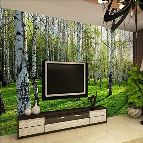 ZCHENG 3D Dreidimensionale Wandbild Tapete Wohnzimmer Schlafzimmer Sofa TV Hintergrundbild Grüne Birkenwald Fototapete, 350x245 cm (137.8 by 96.5 in)