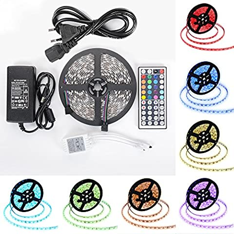 Gledto Ruban LED Etanche 5M 5050 RGB Multicolore SMD 300 LED Bande Flexible Lumineux Bandeau LED Strip Light + Télécommande à infrarouge 44 touches + Alimentation 12V 5A
