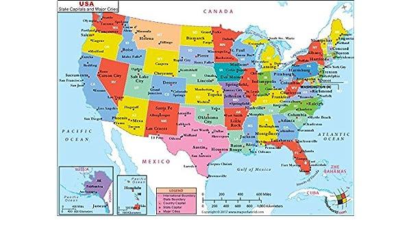 Buy US Major Cities Map - Vinyl Print (36\