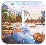 Yosemite National Park California Kunst Pinsel Effekt, Wanduhr Durchmesser 28cm mit weißen eckigen Zeigern und Ziffernblatt, Dekoartikel, Designuhr, Aluverbund sehr schön für Wohnzimmer, Kinderzimmer, Arbeitszimmer