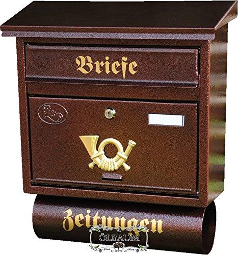 Massivstahl-Briefkasten, verzinkt mit Rostschutz F groß in kupfer kupferbraun braun Zeitungsfach Zeitungen Post antik Mailbox Schild