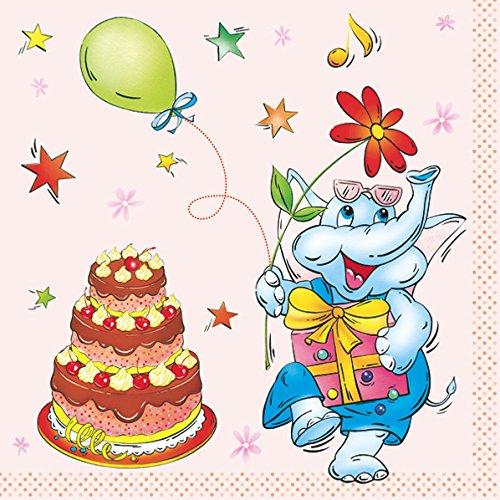 Servilleta/puntos/33 x 33 cm/servilletas tecnología /{20} pcspackg./ cumpleaños/Elefant/rosa