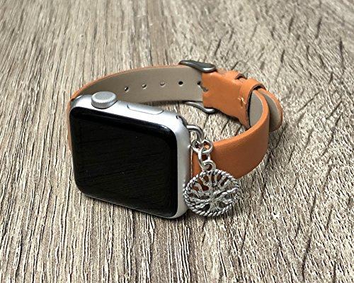 Luxus Braun Vegan Leder Band f?r Apple Uhr Alle Series 1?2?& 3?Hand verstellbare Gr??e Armband mit Silber Baum des Lebens Schmuck Ornament Elegante Apple Armbanduhr Schmuck Armband - 38 mm