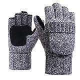 LvLoFit Natürlich Wolle Strick Handschuhe Leger Palme Fingerlos mit Fingerschutz Warme Gestrickt Winter Gloves für Damen Herren (Grau)