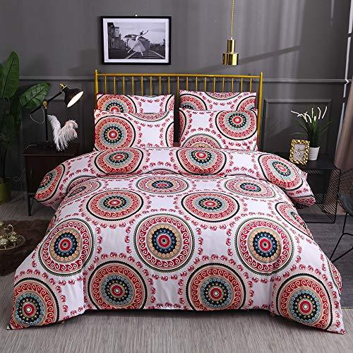 MeOkey Böhmen Bettwäsche Bettbezug 3 Stück Set Reißverschluss Soft Mikrofaser Vintage Floral Tröster Quilt Covet Set Queen Size 228 * 228CM -