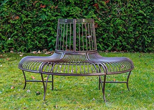 Gartenbank Bank Antik-Stil Garten Metall Eisen braun Möbel Baumbank 134cm - 2