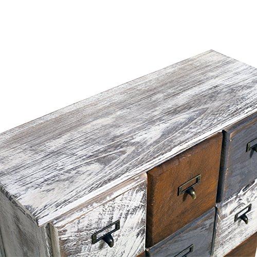 Rebecca Mobili Cassettiera 9 cassetti, Mobile Bianco, Legno, Shabby Chic, Camera da Letto Sala - Misure: 62 x 60 x 22 cm (HxLxP) - Art. RE4077 - 4