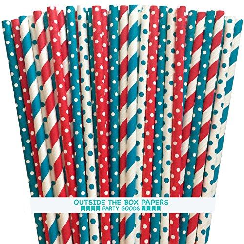 Dr. Seuss Mottoparty Papier Trinkhalme-Rot Weiß Blaugrün Blau-19,7cm-125Stück-Außerhalb der Box Papier Marke