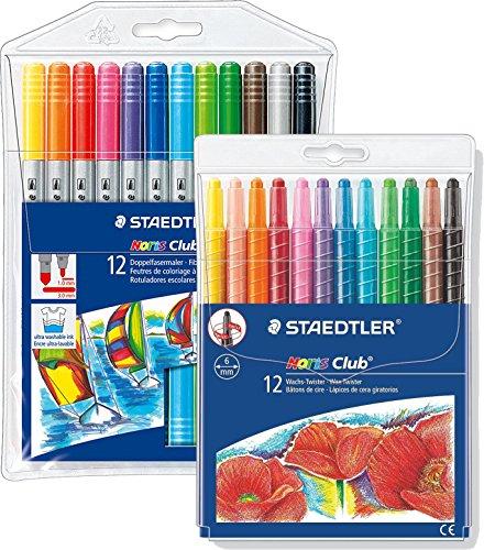 Staedtler Noris Club Doppelfasermaler, rund, circa 1,0 mm, Set mit 12 brillanten Farben, 320 NWP12 + Wachs-Twister, Wachs-Malstifte, Set mit 12 brillanten Farben, 221 NWP12 -