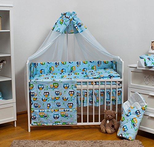Velinda 13-tlg. Baby-Bettwäsche-Set Bettzeug Bettbezug Bettgarnitur für Babybett 120x60 (Muster: Eule_Blau)