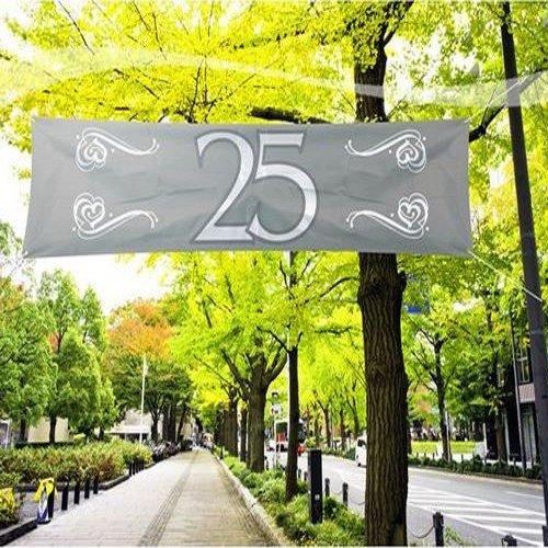 Straßen-Banner Jubiläum Rot Silber Gold Dekoration Deko Street Banner Hochzeit (Silber)