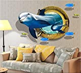 HALLOBO XXL Wandtattoo Wandaufkleber Decke Aufkleber 3D Fenster Delphin Unterwasserwelt Delfine Marine Meer Wandbild Wohnzimmer Schlafzimmer Kinderzimmer Deko Versand aus Deutschland