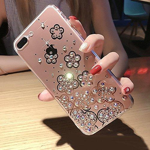 Étui pour iPhone 6/6S,Luxe Coque protecteur iPhone 6/6S coque en Slicone,Couleur purement romantique miroir motif Housse, ETSUE Étui miroir brillant Bling Glitter Souple Noir Borde Housse pour iPhone  Transparent Fleur