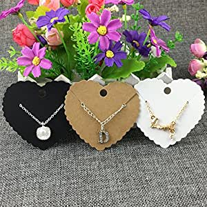 Generic White : 400PCS/Lot Kraft Pendent Cards Brown heart-shaped necklace cards Paper Jewelry Displays card Heart Cut Pendant Cards/price tags