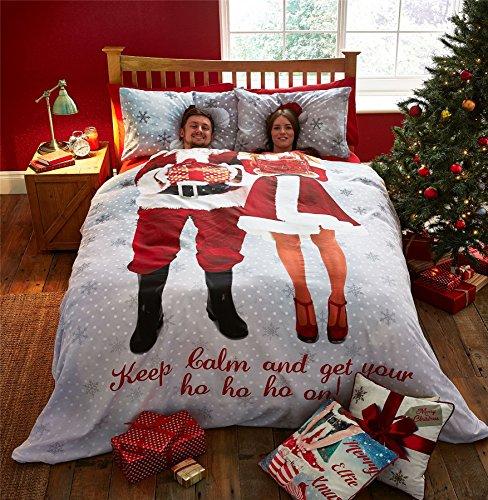 Weihnachten MR & MRS Santa Claus Schneeflocken rot weiß grau Double (Uni weiß Spannbetttuch–137x 191cm + 25) 4-teiliges (Die Hausfrau 40 Kostüme)