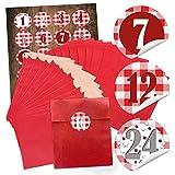 - Lot de 24 sachets cadeaux rouges en papier (13 x 18 cm) et 24 autocollants ronds 4 cm, rouge, blanc, à carreaux, de 1 à 24, à remplir, pour Noël