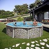 Gartenwelt Riegelsberger Pool-Set Feeling rund 300x120 cm Steinoptik