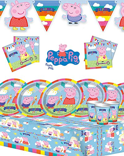 peppa-pig-childrens-birthday-party-kit-for-8162432-featuring-new-style-banner-party-for-16