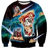 Loveternal Unisex Hässliche Weihnachtspullover 3D Druck Ugly Christmas Sweater Langarm Xmas Pullover Jumper S-3XL