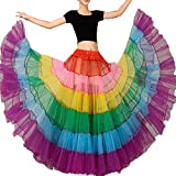 Sunzeus Frauen Regenbogen Tutu Rock Petticoat Bodenlangen Unterrock Krinoline Slips für Leistung Bunte Große Pendel Casual Rock