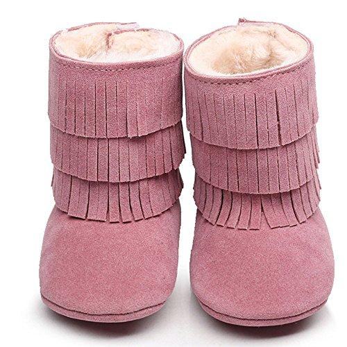 kingko® bébé Gardez Double-deck Glands souple Sole Bottes de neige molle Berceau Bottes Chaussures enfant chaudes Rose