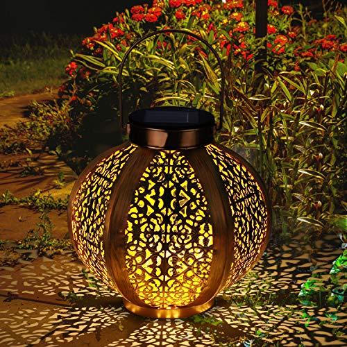 Lanterne Solaire LED Exterieur GolWof Lampe Solaire de Jardin Exterieur Suspendue Étanche Lumière Accrochant Éclairage Décorative Hexagonale pour Jardin Patio Pelouse Couloir Allée - Dorée