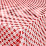 ANRO Wachstuchtischdecke Wachstuch Wachstischdecke Tischdecke abwaschbar Kariert Karo Rot 180 x 140cm