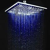 Jiayoujia New 30,5cm quadrato multi colore LED soffione doccia in ottone cromato senza braccio doccia