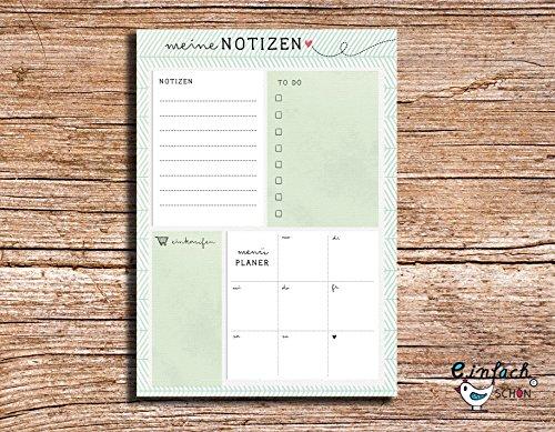 Meine Notizen – Taccuino A5 verde, per to do list, agenda settimanale, lista della spesa, planer del menu