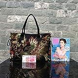 Girl BISSER originale stile etnico retrò ricamo fiore mesh Tote Shoulder Slung borsa di tela Marea femminile Big Bag, Black Phoenix (Large) Upgrade