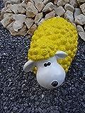 XXL Dekofigur Schaf wetterfest gelb Supersüße Dekofiguren Gartenfiguren bunte Schafe in knalligen oder pastell farben aus hochwertigem wetterfestem Resin - handgefertigte und handbemalte Markenqualität (Gelb)